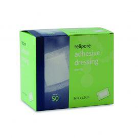 Relipore Adhesive Dressings 7.5cm x 7.5cm Sterile pk 50
