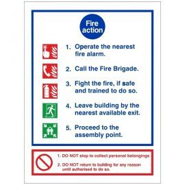 5 Point Fire Action Notice Sign