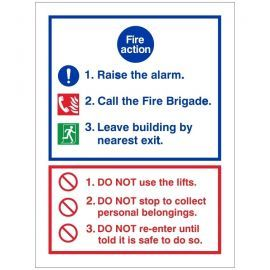 3 Point Fire Action Notice Sign - Raise The Alarm