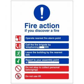Fire Action Notice Sign - If You Discover A Fire