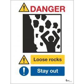 Danger Loose Rocks Sign - Stay Away