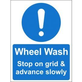 Wheel Wash Sign - Stop on grid and advance slowly