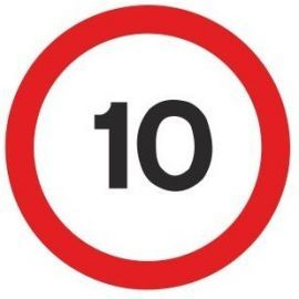 10mph traffic sign 600mm post fit non reflective aluminium composite sign