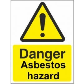 Danger asbestos hazard sign in a variety of sizes and materials with or without your logo