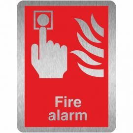 Brushed Aluminium Effect Fire Alarm Sign