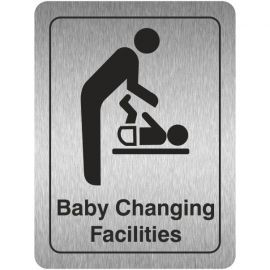 Baby Changing Facilities (Portrait) Toilet Aluminium Door Sign