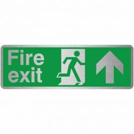 Fire Exit Arrow Up Brush Aluminium Effect Prestige Sign