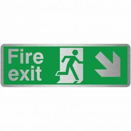 Brushed Aluminium Fire Exit Arrow Down Right Sign