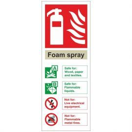 Brushed Aluminium Effect Foam Spray Fire Identification Sign
