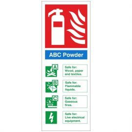 Brushed Aluminium Effect ABC Powder Fire Identification Sign