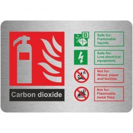 Brushed Aluminium Effect Carbon Dioxide Fire Identification Sign 150mm x 100mm