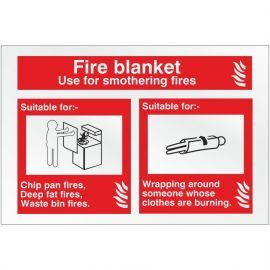 Brushed Aluminium Effect Fire Blanket Fire Identification Sign - 150mm x 100mm