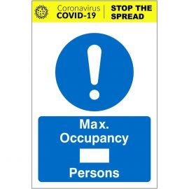 Max Occupancy Covid 19 Sign