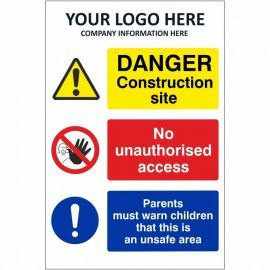 Danger Construction Site Multi Message Safety Board