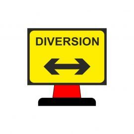 Diversion Left/Right Reverse Aluminium Composite Cone Sign