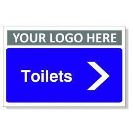 Toilets Arrow Right Custom Logo Door Sign