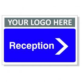 Reception Arrow Right Custom Logo Door Sign