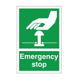Green Emergency Stop First Aid Sign