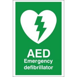 AED Emergency Defibrillator First Aid Sign