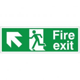 Fire Exit Arrow Up Left Sign