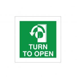 Turn To Open Anti Clockwise Door Sign