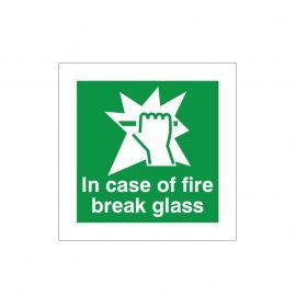 In Case Of Fire Break Glass Sign