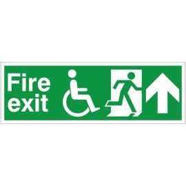 Refuge Fire Exit Arrow Up Sign