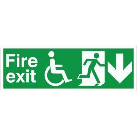 Refuge Fire Exit Arrow Down Sign
