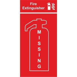 Fire extinguisher location panel missing extinguisher 400w x 800h mm sign 3mm composite aluminium sign