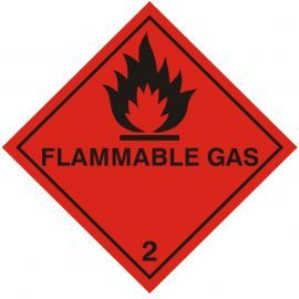 Flamable Gas Warning Sticker 100Wmm x 100Hmm