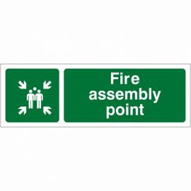 Fire Assembly Point Sign 600W x 200Hmm - Rigid Plastic