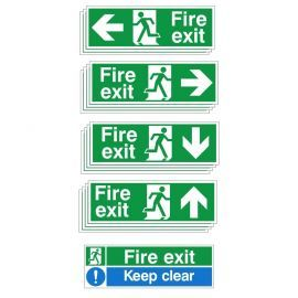 Fire Exit Sign Bundle - 13 sign bulk pack