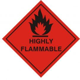 Highly Flamable Warning Sticker 100Wmm x 100Hmm