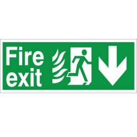 Hospital Compliant Fire Exit Arrow Down Sign