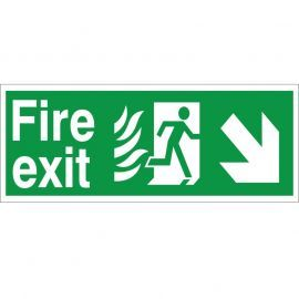 Hospital Compliant Fire Exit Arrow Down Right Sign