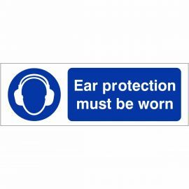 Ear Protection Must Be Worn Sign 600mm x 200mm - Rigid Plastic