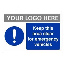 Keep This Area Clear For Emergency Vehicles Custom Logo Sign