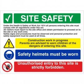 Site Safety Safety Helmets Must Be Worn Multi Message Safety Board