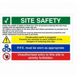 Site Safety PPE Must Be Worn As Appropriate Multi Message Safety Board