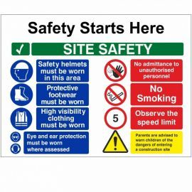 Safety Starts Here Site Safety Multi Message Safety Board