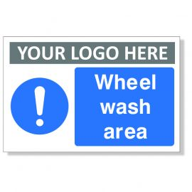Mandatory Wheel Wash Area Custom Logo Sign