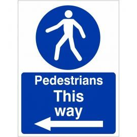 Pedestrians This Way Arrow Left Sign