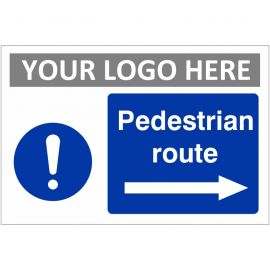 Pedestrian Route Arrow Right Custom Logo Sign