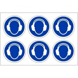 Pack of 24 Protective Hearing Labels 100mm in Diameter