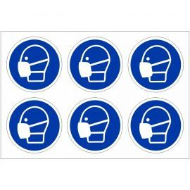 Pack of 24 Wear Mask Labels 100mm in Diameter