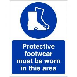 Protective Footwear Must Be Worn In This Area Custom Logo Sign