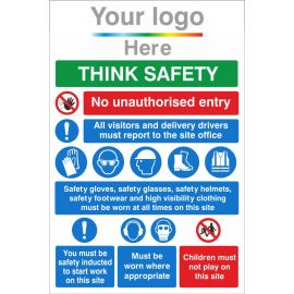Think Safety Site Safety 800W X 1200Hmm Aluminium Composite Sign With Your Logo