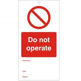 Do Not Operate - Maintenance Tag