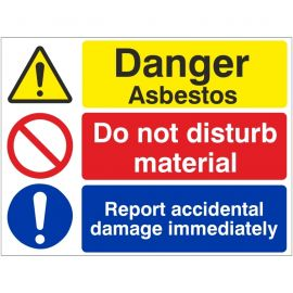 Danger Asbestos Do Not Disturb Material Sign
