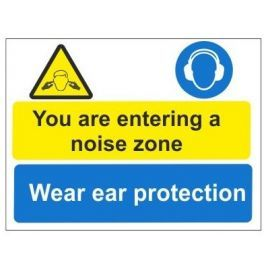 You are now entering a noise zone wear ear protection multi message sign in a variety of sizes and materials